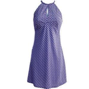 Esprit Dress Purple Plaid Keyhole Tie Halter Vtg S